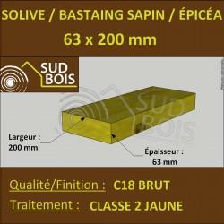 * ↕ ◙ Solive Bastaing 63x200 Sapin/Épicéa Classe 2 Jaune (à la palette)