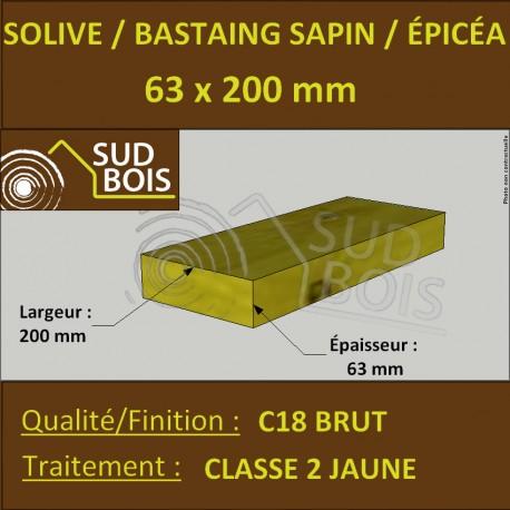 Solive Bastaing 63x200mm Sapin/Épicéa Traité Classe 2 Jaune