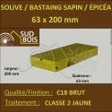 * ↕ Solive Bastaing 63x200 Sapin/Épicéa Classe 2 Jaune (à la palette)
