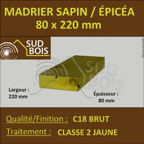 Madrier 80x220mm Sapin/Épicéa Traité Classe 2 Jaune