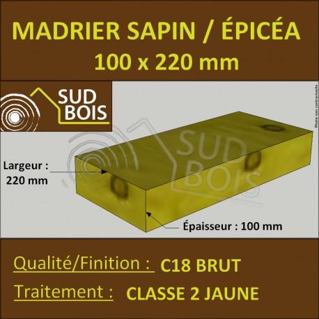 Madrier 100x220mm Sapin/Épicéa Traité Classe 2 Jaune