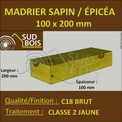 * ↕ ◙ Madrier 100x200 Sapin / Épicéa Classe 2 Jaune (à la palette)