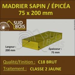 * ↕ Madrier 75x200 Sapin / Épicéa Traité Classe 2 Jaune (à la palette)
