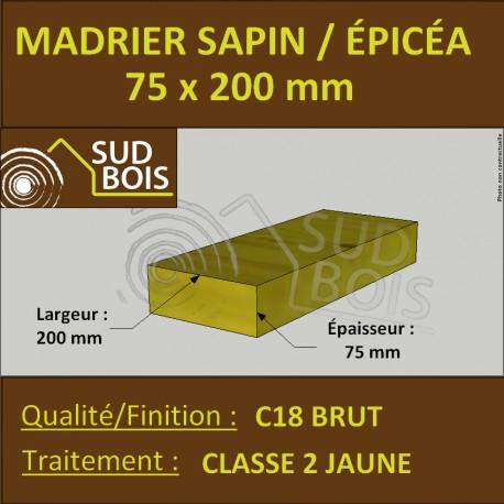 Madrier 75x200mm Sapin/Épicéa Traité Classe 2 Jaune