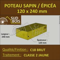 * ↕ ◙ Poteau 120x240 Sapin / Épicéa Traité Classe 2 Jaune (à la palette)