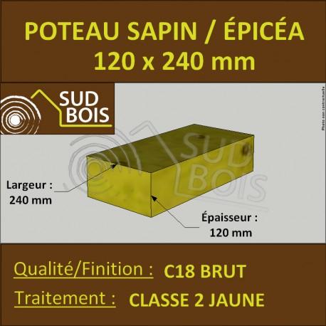 Poteau 120x240mm Sapin/Épicéa Traité Classe 2 Jaune