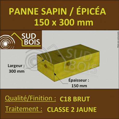 Panne 150x300mm Sapin/Épicéa Traité Classe 2 Jaune