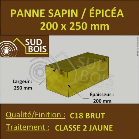 Panne 200x250mm Sapin/Épicéa Traité Classe 2 Jaune