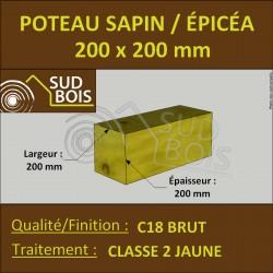 * ↕ ◙ Poteau 200x200 Sapin/Épicéa Classe 2 Jaune (à la palette)