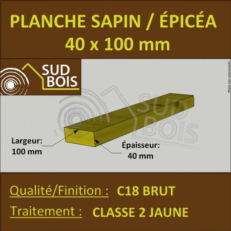 Planche 40x100mm Sapin/Épicéa Traité Classe 2 Jaune