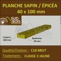 * ↕ Planche 40x100 Sapin/Épicéa Classe 2 (à la palette)