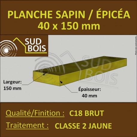 Planche 40x150mm Sapin/Épicéa Traité Classe 2 Jaune