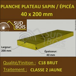 * ↕ Planche 40x200 Sapin / Épicéa Jaune (à la palette)