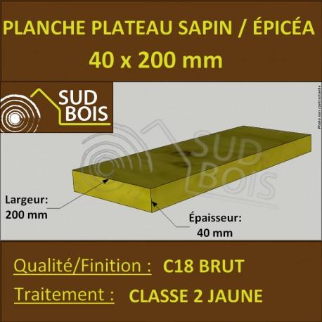 Planche 40x200mm Sapin/Épicéa Traité Classe 2 Jaune