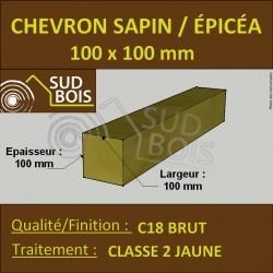 Chevron 100x100mm Sapin/Épicéa Traité Classe 2 Jaune