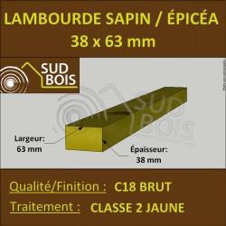 Lambourde 38x63mm Sapin/Épicéa Traité Classe 2 Jaune