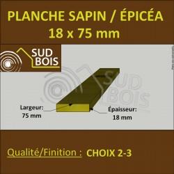* ↕ ◙ Planche 18x75 Sapin/Épicéa Brut Non Traité (à la palette)