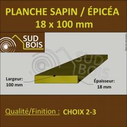 * ↕ ◙ Planche 18x100 Sapin/Épicéa Brut Non Traité (à la palette)