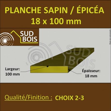Planche 18x100 mm Sapin / Épicéa Brut Non Traité