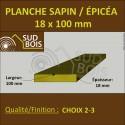 * ↕ Planche 18x100 Sapin/Épicéa Brut Non Traité (à la palette)