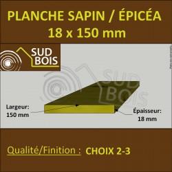 * ↕ ◙ Planche 18x150 Sapin/Épicéa Brut Non Traité (à la palette)
