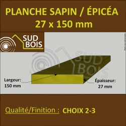 * ↕ Planche 27x150 Sapin / Épicéa Brut Non Traité (à la palette)