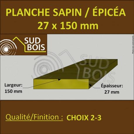 Planche 27x150 mm Sapin / Épicéa Brut Non Traité