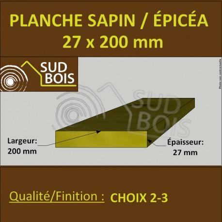 Planche 27x200 mm Sapin / Épicéa Brut Non Traité