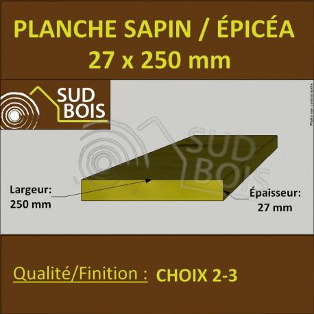 Planche 27x250 mm Sapin / Épicéa Brut Non Traité