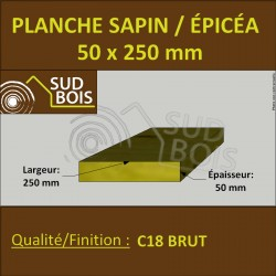 * ↕ ◙ Planche 50x250 Sapin/Épicéa Brut Non Traité (à la palette)