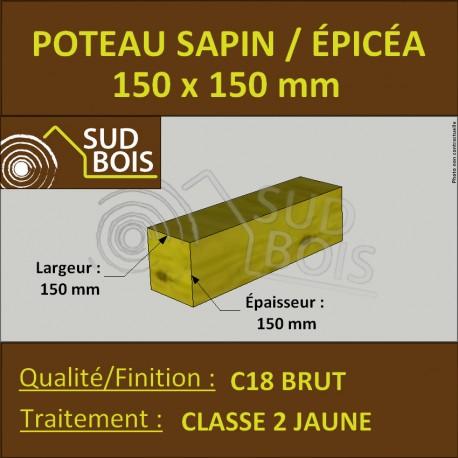 Poteau 150x150 mm Sapin / Épicéa Traité Classe 2 Jaune