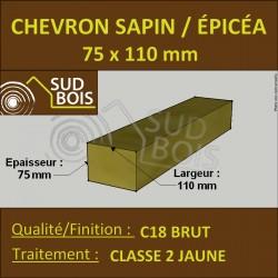 * ↕ ◙ Chevron 75x110 Sapin Brut Traité Classe 2 jaune (à la palette)