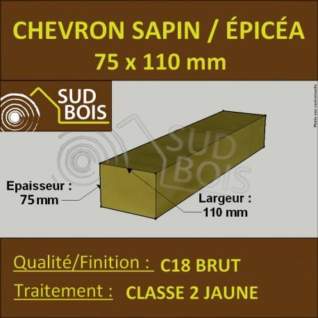 Chevron 75x110 Sapin / Épicéa Brut Traité Classe 2 jaune