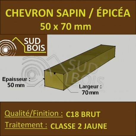 Chevron 50x70 mm Sapin / Épicéa brut traité Classe 2 jaune
