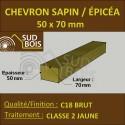 * ↕ ◙ Chevron 50x70 Sapin/Épicéa brut traité jaune (à la palette)