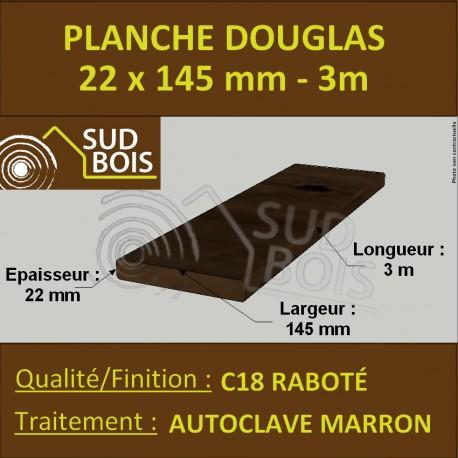 Planche 22x145 Douglas Autoclave Marron Rabotée 3m