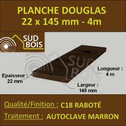 Lame de Terrasse FINO 21x145 Douglas Autoclave Marron Rabotée 4m