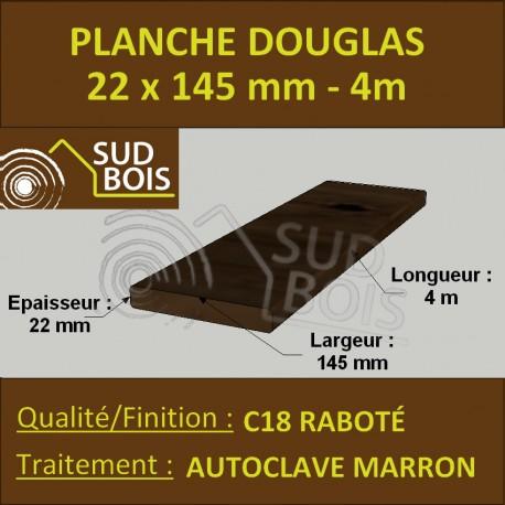 Planche 22x145 Douglas Autoclave Marron Rabotée 4m