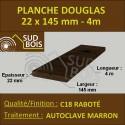 Lame de Terrasse Bois FINO 21x145 Douglas Autoclave Marron 1er Choix 4m