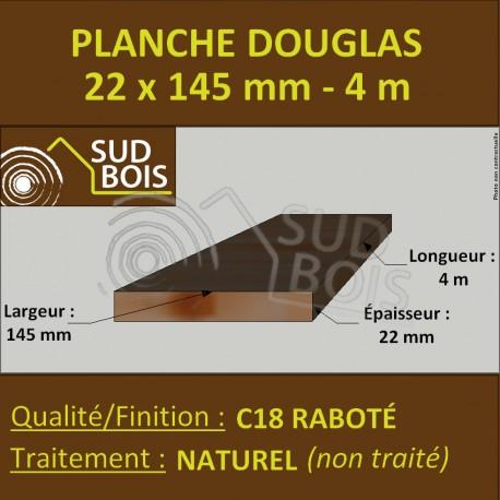 Planche 22x145 mm Douglas Naturel Rabotée 4m