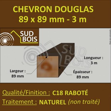 Chevron / Poteau 89x89 mm Douglas Naturel Raboté 3M