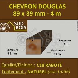 Chevron / Poteau 89x89 Douglas Naturel Sec Raboté Qualité Charpente 4m