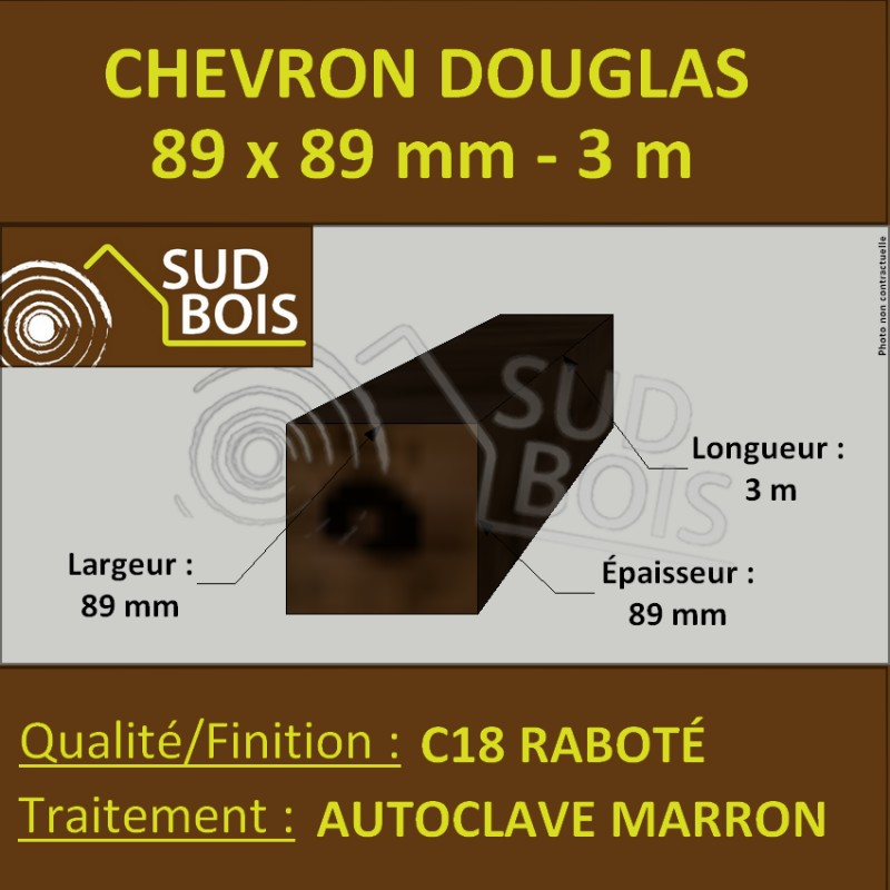 chevron poteau 89x89 mm douglas autoclave marron rabot. Black Bedroom Furniture Sets. Home Design Ideas