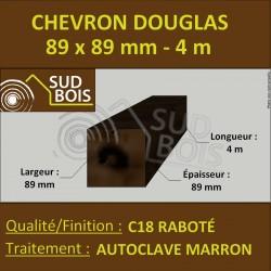 Chevron / Poteau 89x89 Douglas Autoclave Marron Sec Raboté Qualité Charpente 4m