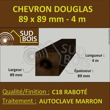 Chevron / Poteau 89x89 mm Douglas Autoclave Marron Raboté 4m