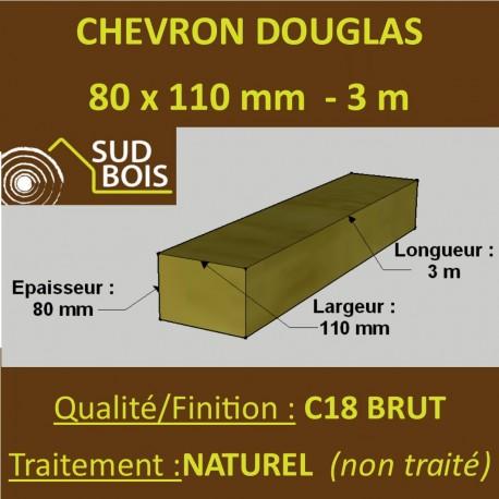 Chevron 80x110mm Douglas Traité Classe 2 Jaune Brut 3M