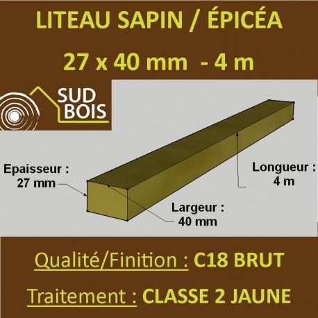Botte de 12 Liteaux 27x40mm Sapin / Épicéa Brut Traité Classe 2 Jaune 4m