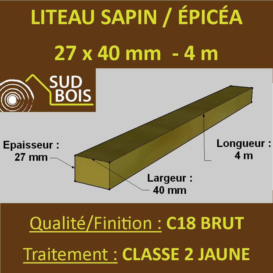 Botte De 12 Liteaux 27x40mm Sapin épicéa Brut Traité Cl 2