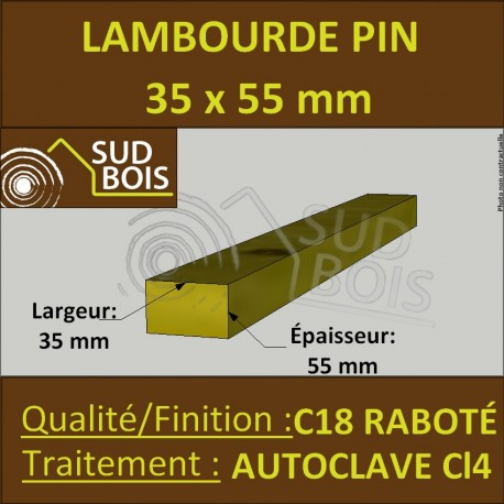 Lambourde Terrasse 35x55mm Pin Autoclave Marron Classe 4 au ML