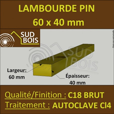 Lambourde 60x40mm Pin Autoclave Marron Classe 4